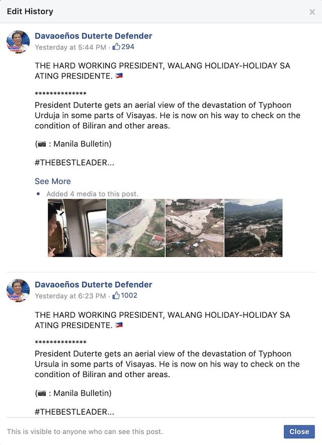 Screenshot of edit history of Davaoeños Duterte Defender's Facebook post on December 26, 2019
