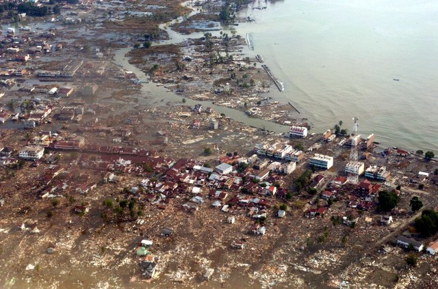 In this file photo, Meulaboh city is shown under water 28 December 2004, after a quake and tidal waves hit Aceh province early December 26. Antara News Agency/AFP