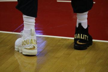 innovative design dbf5a 3408f EQUALITY. LeBron James makes a statement on his shoes during his game  against the Wizards
