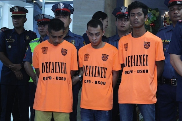 ABU SAYYAF MEMBERS. Police present3 members of the Abu Sayyaf Group who allegedly planned to launch an attack during the ASEAN Summit. Photo by Darren Langit/Rappler