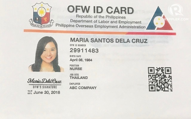 OFW ID. Sample OFW ID card launched Wednesday, July 12. Photo by Patty Pasion/Rappler