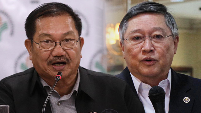 DEBATE. At least two Cabinet secretaries engage in a 'fierce' debate on rice importation during the October 8 Cabinet meeting.  Piñol photo by Darren Langit, Dominguez photo by Joel Liporada