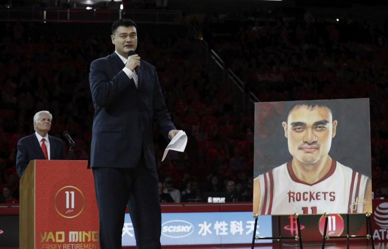 the best attitude 7d1ce 1a9fa Houston Rockets retire trail blazing Yao Ming's jersey