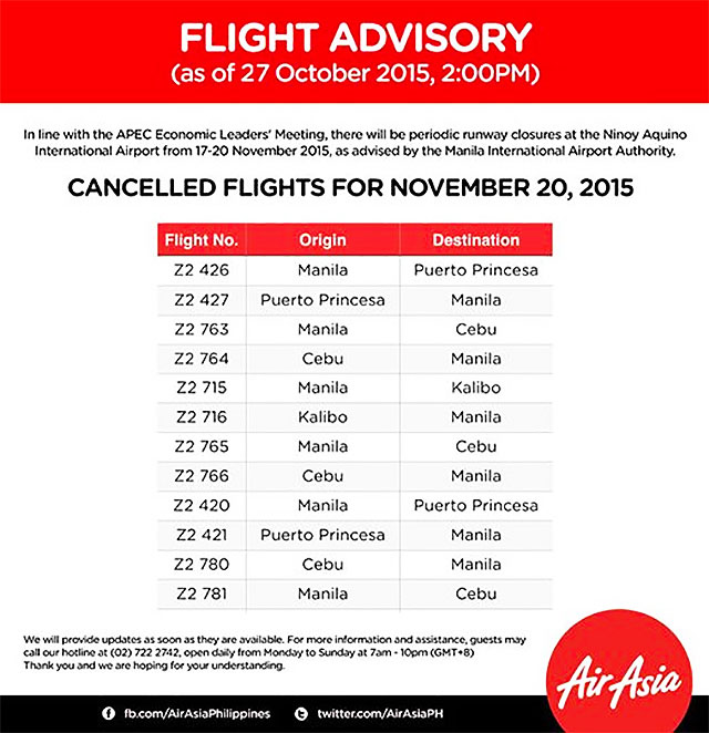 9b65b2c8aef0 Cancelled flights due to APEC meetings in November