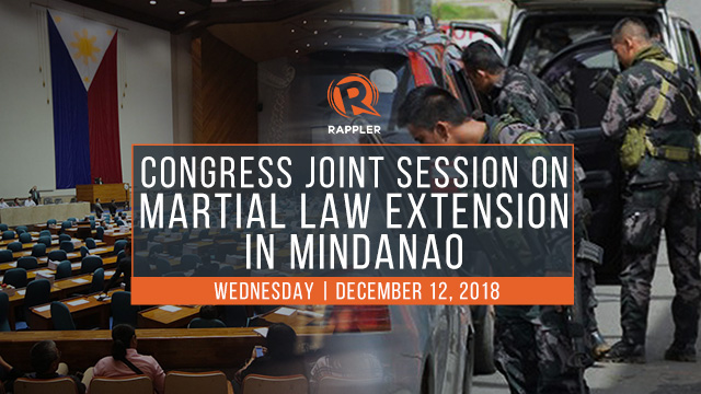 LIVE: Congress joint session on martial law extension in Mindanao for 2019