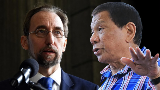 WORD WAR. President Rodrigo Duterte has called UN High Commissioner on Human Rights Zeid Ra'ad Al Hussein 'emtpy-headed.' Zeid file photo from Johan Ordonez/AFP; Duterte file photo from Malacañang
