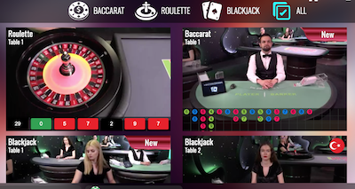 Screenshot from an online gambling website