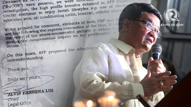 VIP TREATMENT? Justice Secretary Vitaliano Aguirre II is accused of giving privileges to convicts who testified against his predecessor at congressional hearings