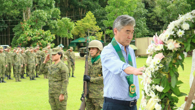 VISITING MARAWI. US Ambassador to the Philippines Sung Kim makes a trip to the ravaged city of Marawi in October 2018, and visits a Camp Ranao memorial honoring those who died in the line of duty during the Marawi siege. Photo from US embassy