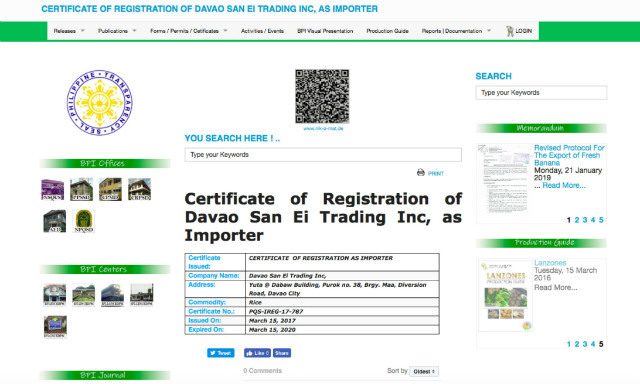 CERTIFICATE The certificate for Davao San-Ei Trading Inc Screenshot by PCIJ