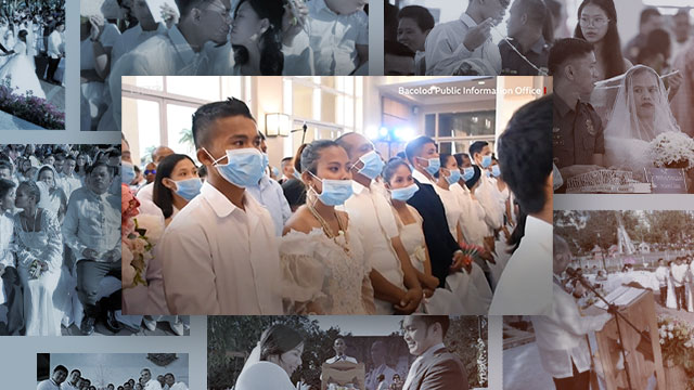 TYING THE KNOT. Foreground: Screenshot from Bacolod City Information Office video; background (clockwise): Philippine National Police by Darren Langit, Baguio City by Mau Victa, and Navotas City by the public information office.