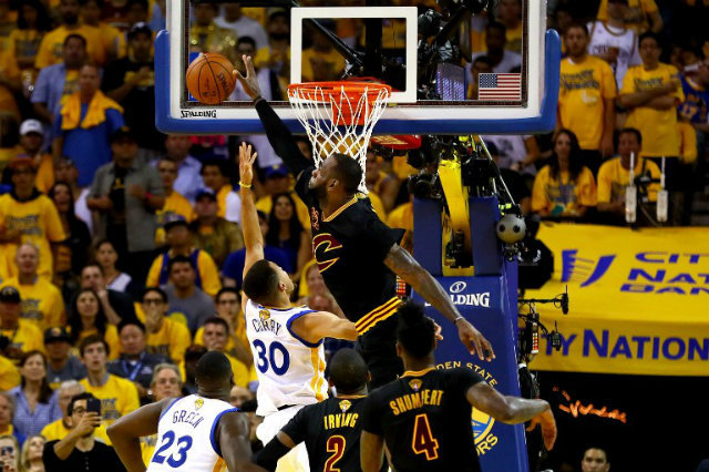 WATCH: LeBron James rejects Curry, Iguodala in Game 7 win