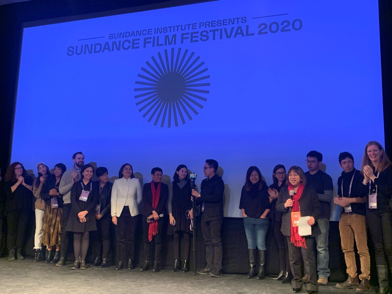 RAPPLER GOES TO SUNDANCE. The crew and cast of 'A Thousand Cuts' after the film's premiere on January 25, 2020. Photo by Camille Elemia/Rappler