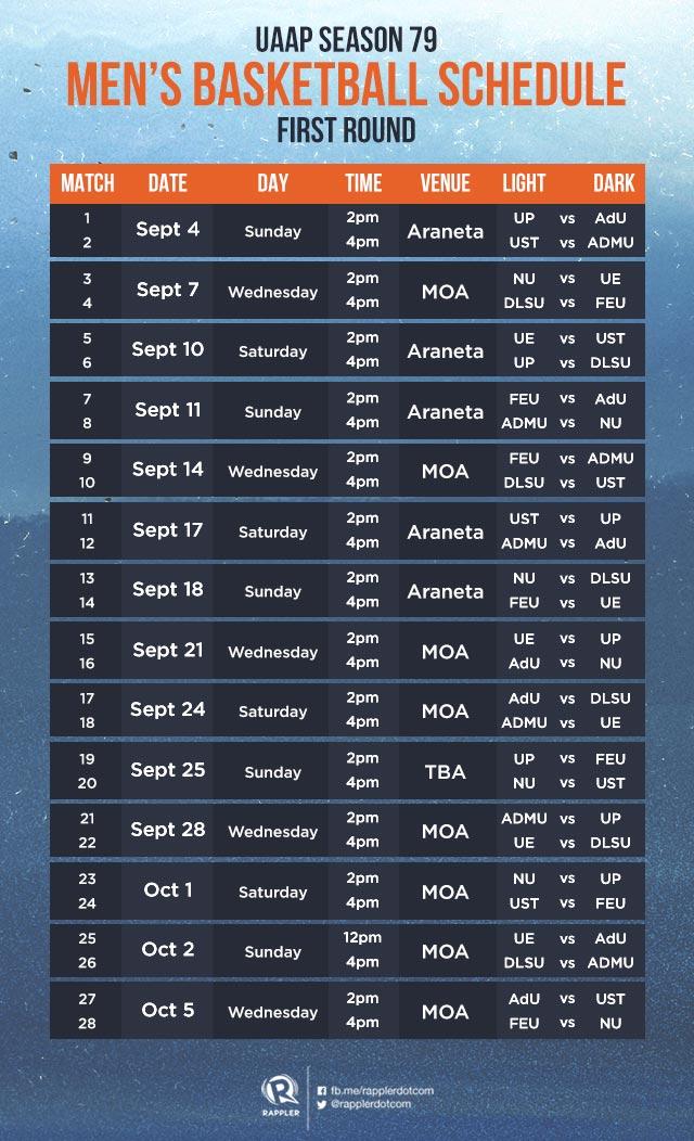 schedule uaap season 79 basketball first round