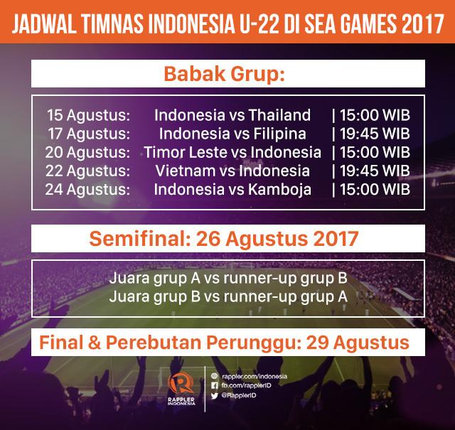 Jadwal lengkap Timnas U22 di SEA Games 2017