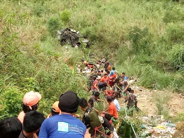 CRASH SITE. The site of the bus crash in Carranglan, Nueva Ecija, that killed over 30 people. Photo courtesy of PNP Carranglan