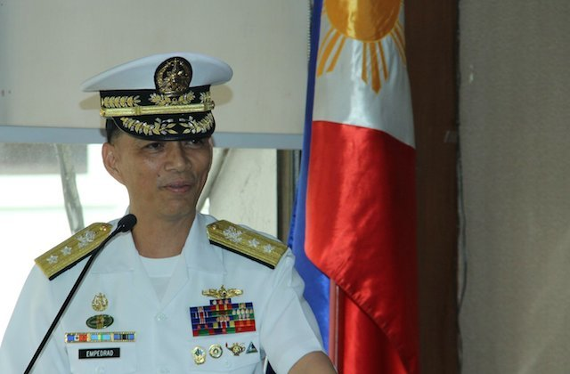NAVY CHIEF. Vice Admiral Robert Empedrad says the Navy's weapons systems are matters of national security. Photo from the Philippine Navy Facebook page