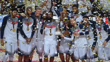 1199afc6ee1f Team USA celebrates after their easy victory over Serbia to win the 2014  FIBA