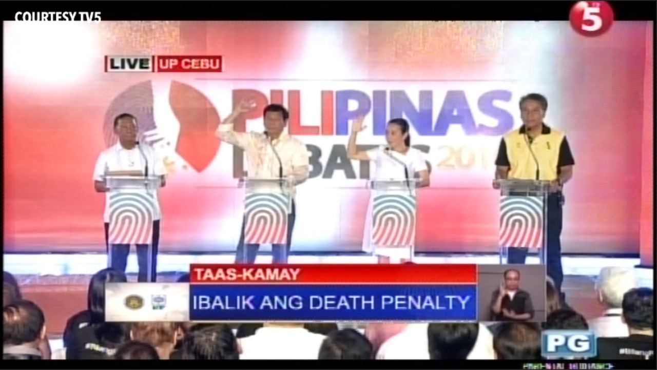 cebu debate duterte poe favor return of death penalty