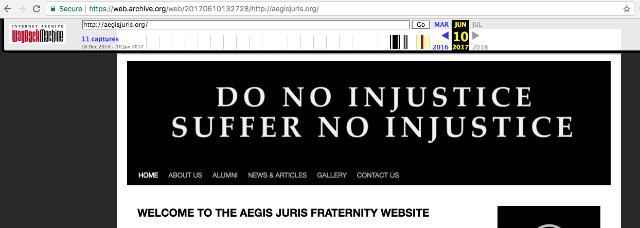 NO INJUSTICE. The frat's motto can be seen in its now down official website.