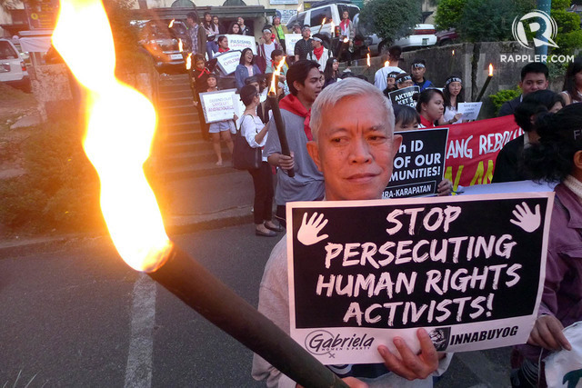 PERSECUTION. Cordillera human rights defenders urge the government to stop persecuting human rights activists. File photo by Mau Victa/Rappler