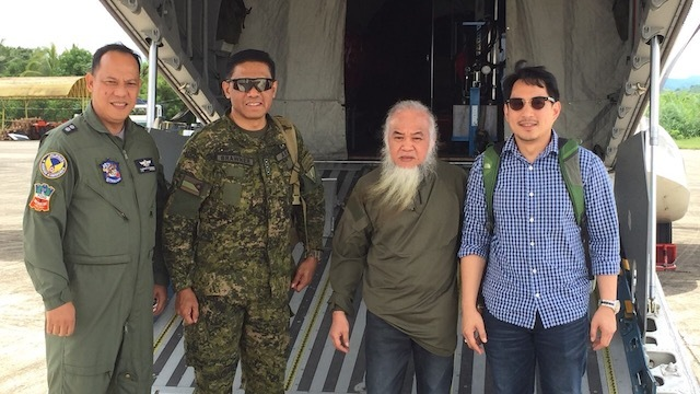 FROM MARAWI TO MANILA. Father Teresito Soganub is flow to Manila two days after his rescue. Photo courtesy of Zia Alonto Adiong