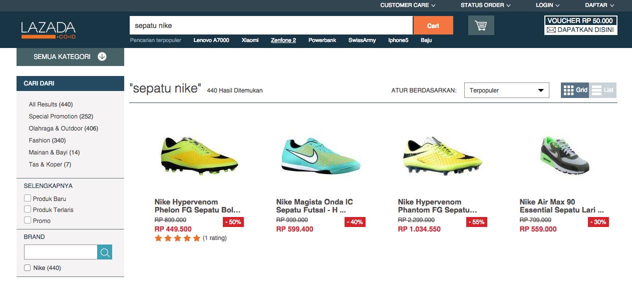 d34dca603234 Sebagian sepatu dengan merek  Nike  yang dijual di situs perdagangan daring  lazada.co