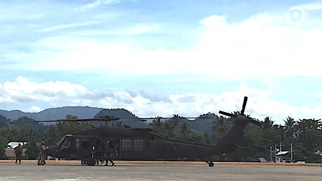 BLACK HAWK. A black hawk chopper lands in Casiguran, Aurora. Photo by Bea Cupin/Rappler