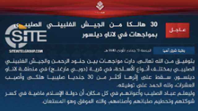 COMMUNIQUE. Screengrab of the January 25, 2019 ISIS statement posted on siteitelgroup.com
