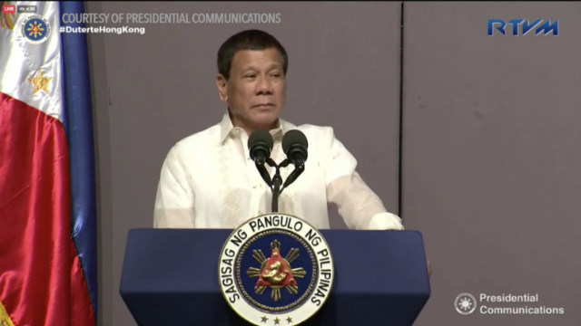 PEACE TALKS. President Rodrigo Duterte stresses the need for peace talks with communist rebels during his meeting with the Filipino community in Hong Kong on May 13, 2017. Screenshot from Malacañang video