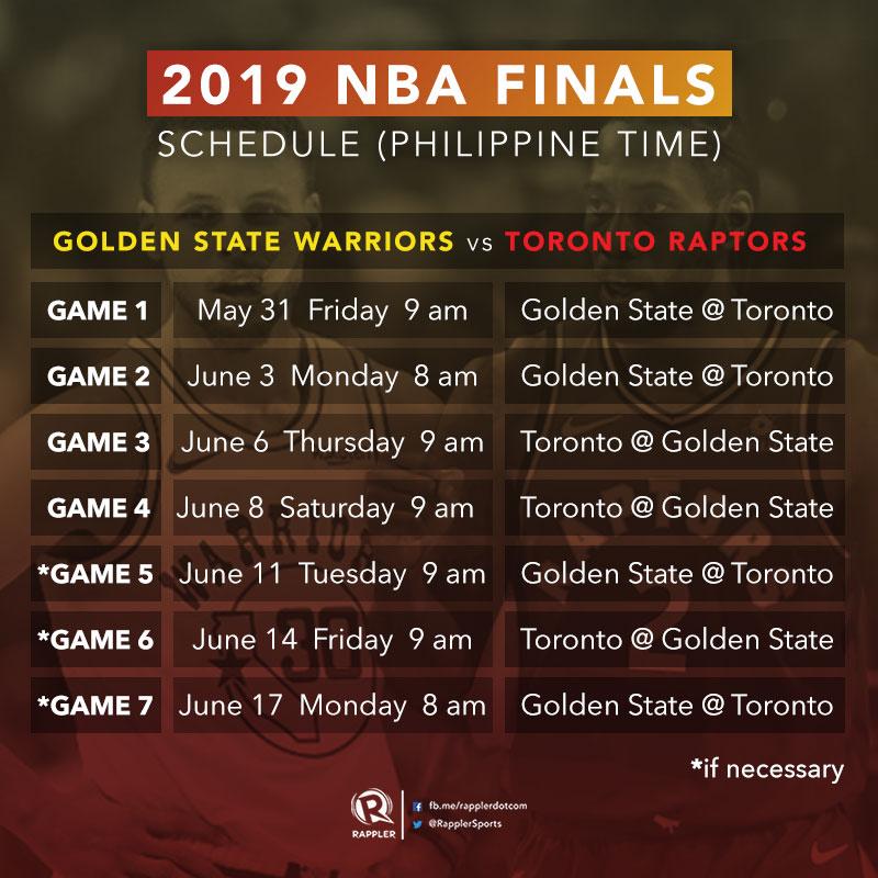 Nba Finals Schedule 2019 LOOK: NBA Finals 2019 schedule, Philippine time