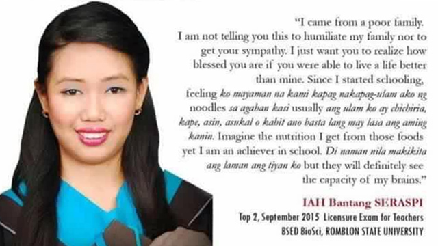Teachers board exam topnotcher inspires with message on ...