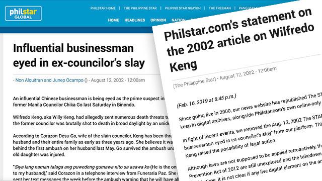 PhilStar.com takes down 2002 article on Wilfredo Keng - Rappler image