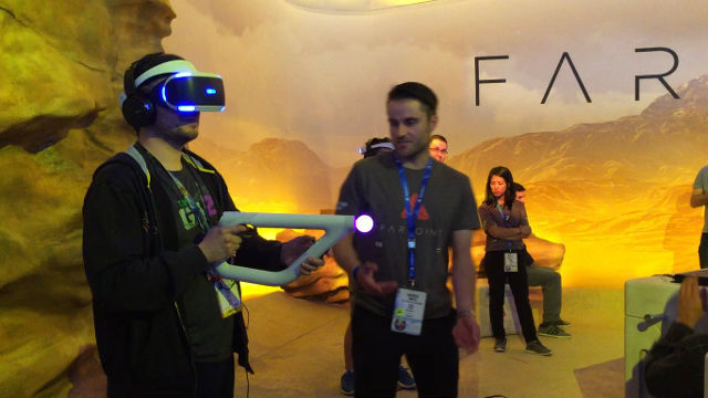 PSVR. A player tries out PlayStation VR near the Farpoint area. Photo by Nadine Pacis