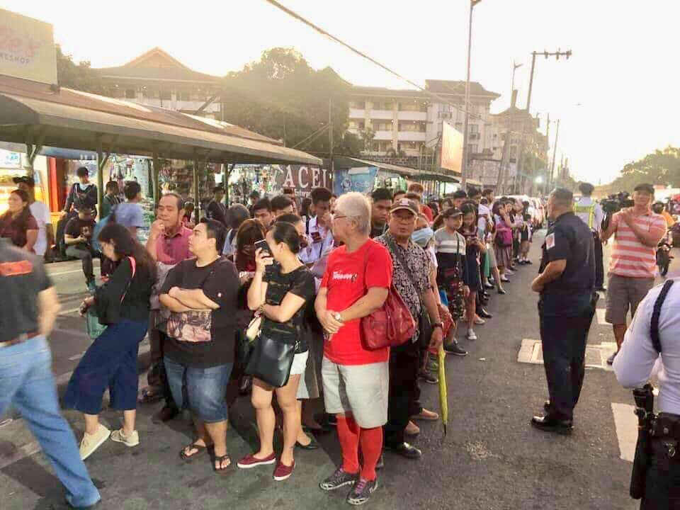 COMMUTERS who normally take the LRT2 wait for buses deployed by the MMDA and the PCG on October 7, 2019. Photo from DOTr