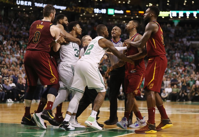 Marcus Smart of the Boston Celtics and JR Smith of the Cleveland Cavaliers  get e674d05d9