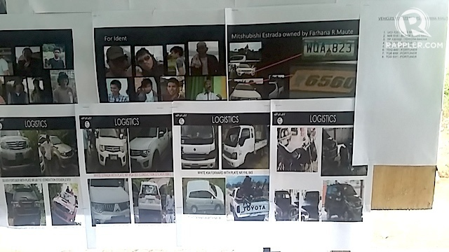 LOGISTICS. Photos of Maute Group members and their vehicles are displayed at checkpoints. Rappler photo