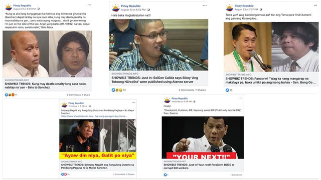 NON-SHOWBIZ. Pinoy Republic often shared articles from website showbiztrends.info, which posts content related to politics instead of show business.