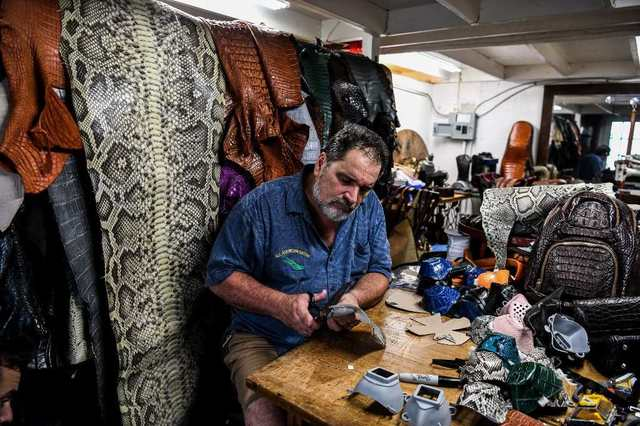 CRAFT. The Florida craftsman has come up with a novel way of tackling both the coronavirus pandemic and the problem of invasive pythons and iguanas that damage the state's fragile ecosystem. Photo by Chandan Khanna/AFP