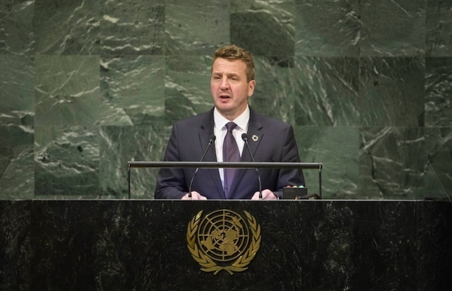 ICELAND'S FOREIGN MINISTER. Iceland's Foreign Minister Gudlaugur Thór Thórdarson at the United Nations. Photo from the Government of Iceland website