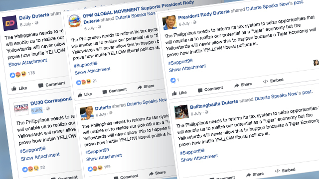 IDENTICAL POSTS. Several pro-Duterte pages shared the exact same video with the exact same hashtag and false allegation. Screenshots from Facebook