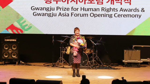 RIGHTS. Joanna Cariño receives the Gwangju Prize for Human Rights. Photo from the The May 18 Memorial Foundation
