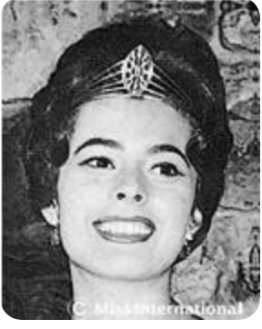 MISS INTERNATIONAL 1960. Stella Marquez Araneta is the first Miss International, winning for her native country of Colombia. Photo from Miss International website