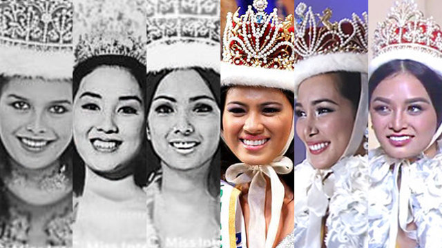 THE 6 MISS INTERNATIONAL PH QUEENS. The Philippines has produced 6 queens in the competition including 2016's Kylie Verzosa. Photos from Miss International website/YouTube/Miss International/AFP