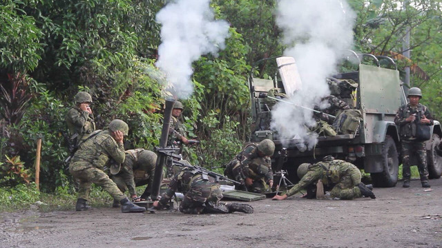 MILITARY OPERATION. A military operation against the Bangsamoro Islamic Freedom Fighters in a Maguindanao town center on July 3, 2018. Photo courtesy of the Philippine Army 33rd Infantry Battalion