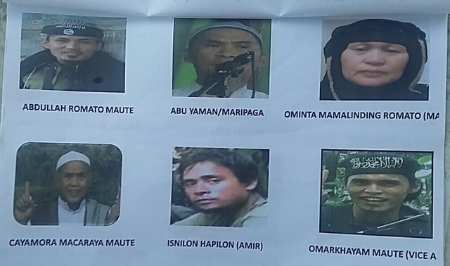 MOST WANTED. These photos of the Mautes are displayed in checkpoints in Lanao provinces.