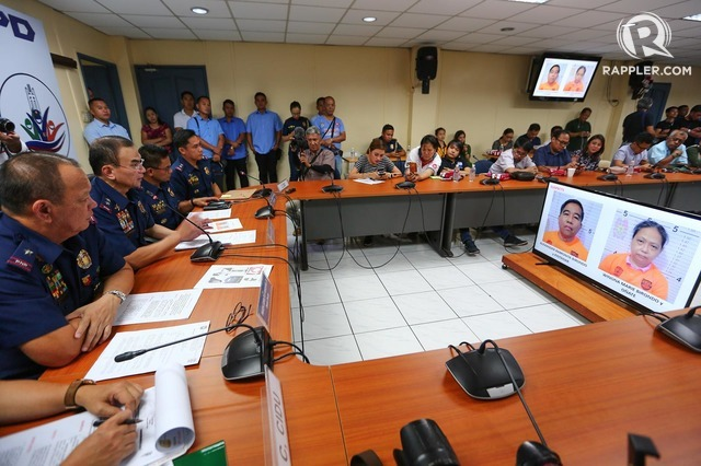 ARRESTED ACTIVISTS. NCRPO chief Guillermo Eleazar and QCPD director Joselito Esquivel briefs the media on July 24, 2019, on the arrest of National Democratic Front members Alexander and Winona Birondo. Photo by Jire Carreon/Rappler