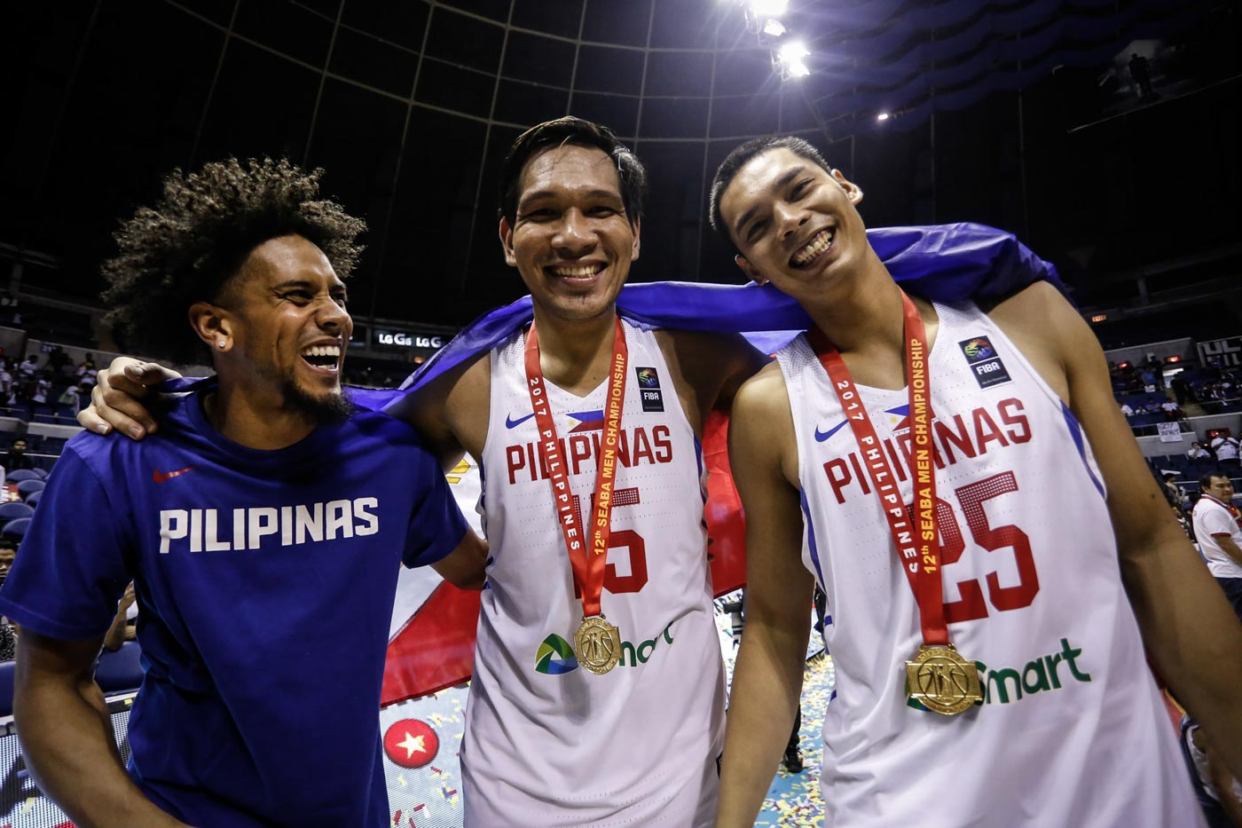 212c1431fff PROUD. Gabe Norwood (L) celebrates with his Gilas brothers after winning  the SEABA