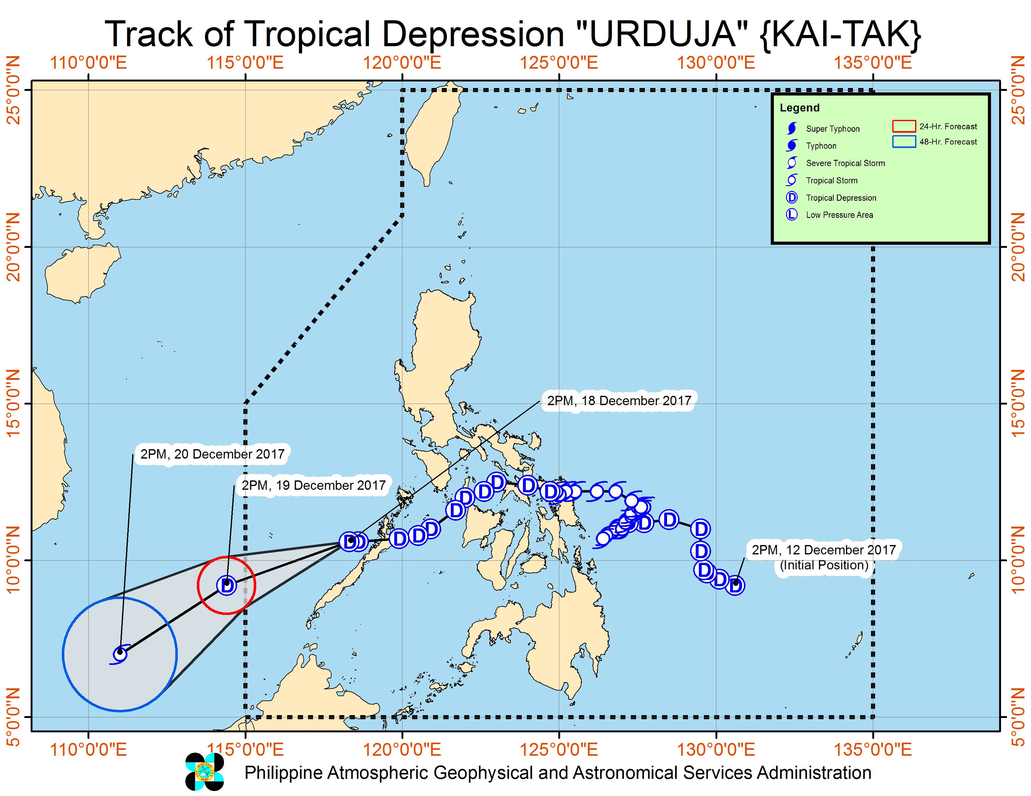 Tropical Depression Urduja now over West PH Sea