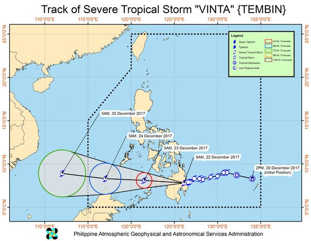 Forecast track of Severe Tropical Storm Vinta as of December 22, 8 am. Image courtesy of PAGASA